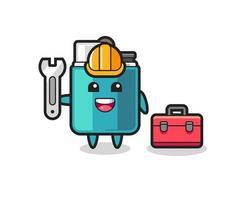 Mascot cartoon of lighter as a mechanic vector