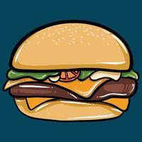 cartoon vector illustration burger, hamburger, fast food, cheeseburger