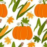 Autumn harvest seamless pattern. vector pumpkin, corn background.