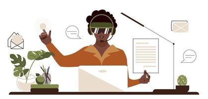mujer afroamericana en gafas vr trabaja en la oficina. mujer en la mesa utiliza un panel interactivo y documentación virtual. Ilustración de vector de negocio plano