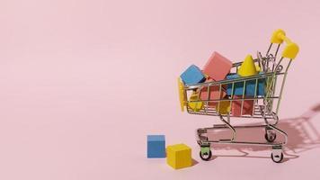 carrito de compras con elementos de madera. foto