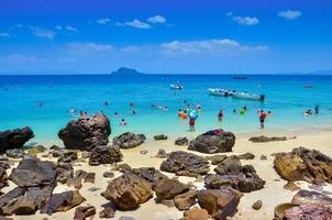Phuket, Thailand, 2020 - People on a tropical beach photo