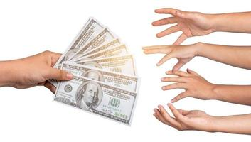 Businessmen hand to send money bank notes catch money payment concepts photo