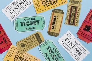 Cinema tickets on blue background photo