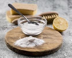 Organic house cleaners with baking soda powder photo