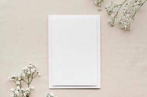 Blank wedding invitation, top view photo