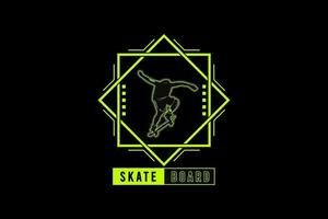 Skateboard, silhouette urban style mock up typography vector