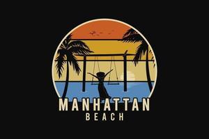 Manhattan beach, silhouette retro style vector