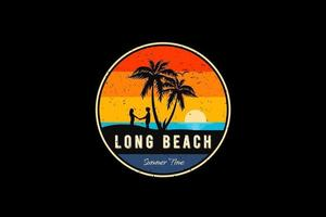 Long beach summer time, silhouette retro vintage style vector