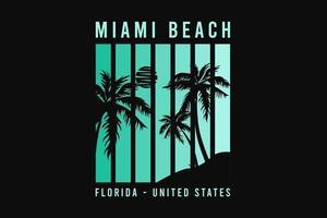 Miami beach florida, silhouette style vector