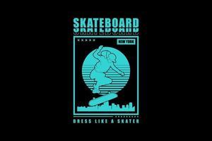 Skateboard, design silhouette urban style. vector
