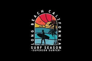 .Long beach surf season, design silhouette retro style vector
