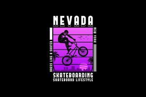 Nevada skateboard, design silhouette urban style vector