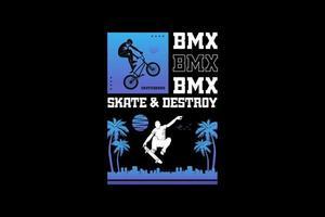 Skate and BM, design silhouette urban style. vector