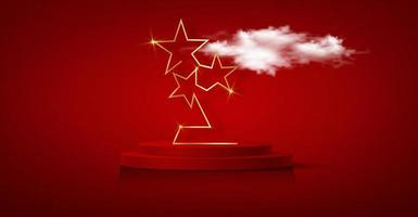 3D winner podium, red carpet party gold stars award concept. Banner Hollywood golden stars prize silhouette statue icon. Films and cinema symbol stock, Academy award vector isolated on red background