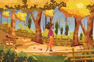 Cute girl walking in The Autumn Park vector