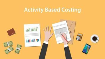 Activity based costing illustration with a man writing on paperwork vector