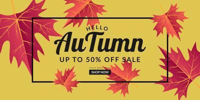 Yellow autumn sale background template design vector