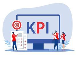 gente de negocios con letras de palabras de indicador clave de rendimiento kpi vector