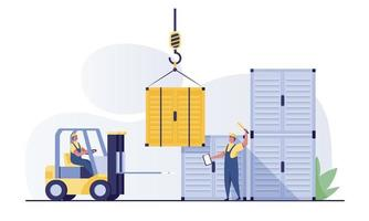 Forklift and cargo container or shipping for shipment storage. vector