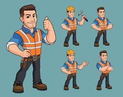 conjunto de diseño de personaje de mascota de trabajador de construcción vector premium