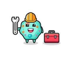 Mascot cartoon of amoeba as a mechanic vector