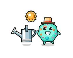 Cartoon character of amoeba holding watering can vector