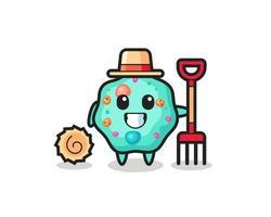 Mascot character of amoeba as a farmer vector
