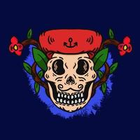 hand drawn skull of a good mustache pirate vector