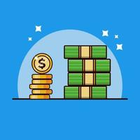 pile of cash and coins vector