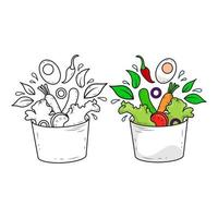 Flat line healthy salad on white background with outline shapes. vector