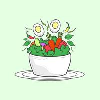 Flat line healthy salad with white plate. vector