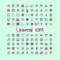 colorful hand drawn universal icon set illustration vector