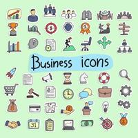 colorful hand drawn icon set illustration vector isolated on green background