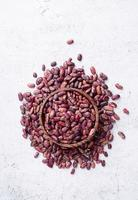 Kidney beans top view on gray background photo
