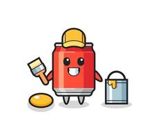 Character Illustration of drink can as a painter vector