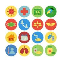 Icon set of corona virus prevention. Icon in colorful flat style. vector