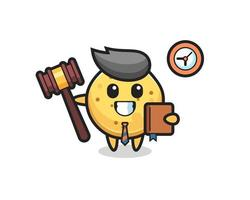 caricatura de mascota de papas fritas como juez vector