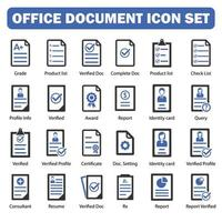 office document icon set collection black and blue vector