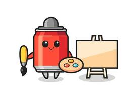 Illustration of drink can mascot as a painter vector