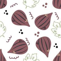 Seamless pattern of hand drawn figs on white background. vector