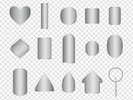 Realistic Metal keyring mockup collection vector