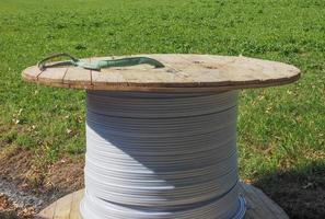Spool of fiber optics cable photo