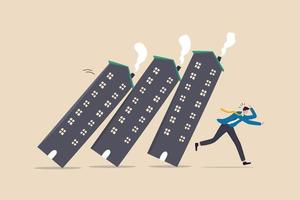 Real estate or property debt crisis causing domino effect, housing and stock market or investment asset fall down concept, panic businessman investor run away from collapsing housing domino. vector