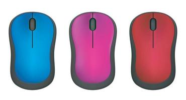 Modern computer mouse ,red,blue and purple on white background vector
