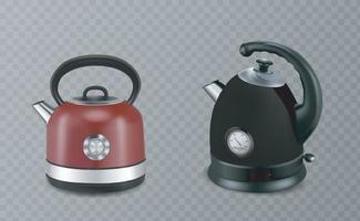 Two stainless steel red and black stovetop kettle vector
