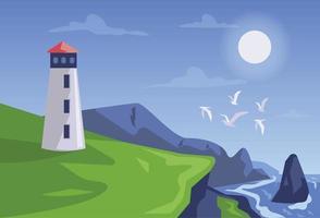 vector de concepto de ilustración de torre de vigilancia de paisaje