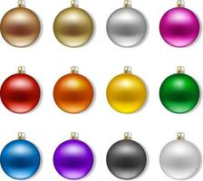 Set of isolated colorful christmas balls vector