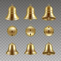 set of isolated gold bells vector. christmas bells. vector