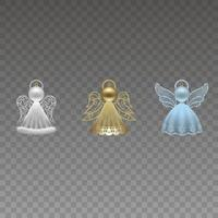 isolated christmas decorations. set of angels made with christmas balls, glitters and ribbons vector